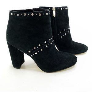Sam Edelman Suede Studded Ankle Heeled Booties